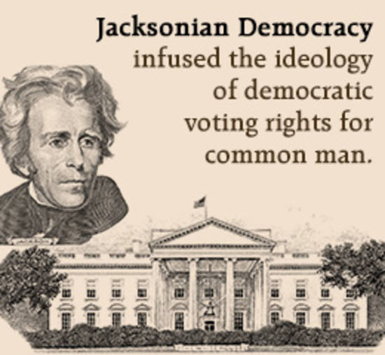 andrew jackson democracy Test and improve your knowledge of history alive chapter 14: andrew jackson & the growth of american democracy with fun multiple choice exams you can take online with.